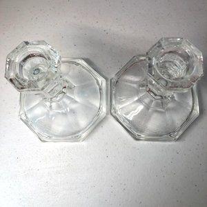 Vintage Accents - Vntg Crystal Cut Candle Sticks